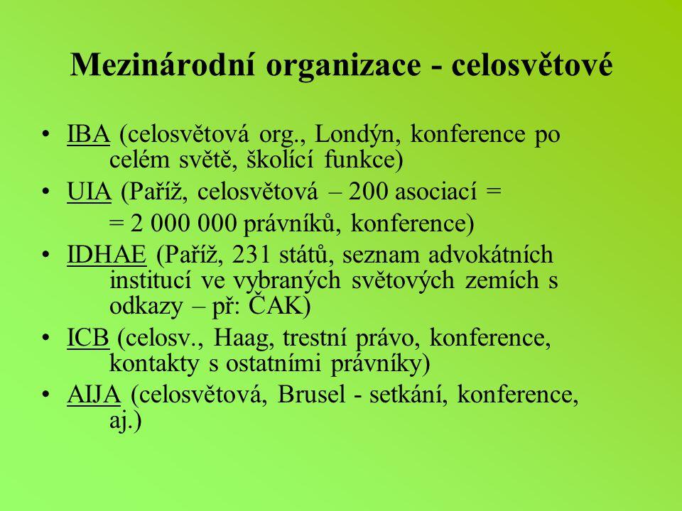 Mezinárodní organizace - celosvětové