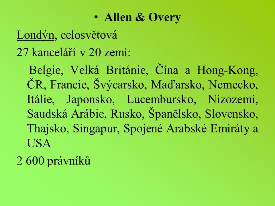 Allen & Overy Londýn, celosvětová. 27 kanceláří v 20 zemí: