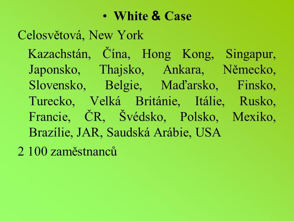 White & Case Celosvětová, New York.