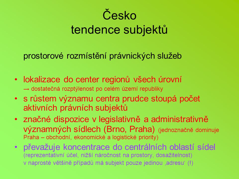 Česko tendence subjektů