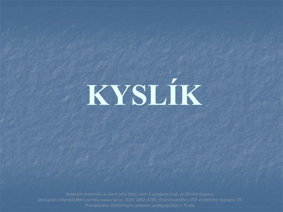 KYSLÍK Autorem materiálu a všech jeho částí, není-li uvedeno jinak, je Michal Kapoun.