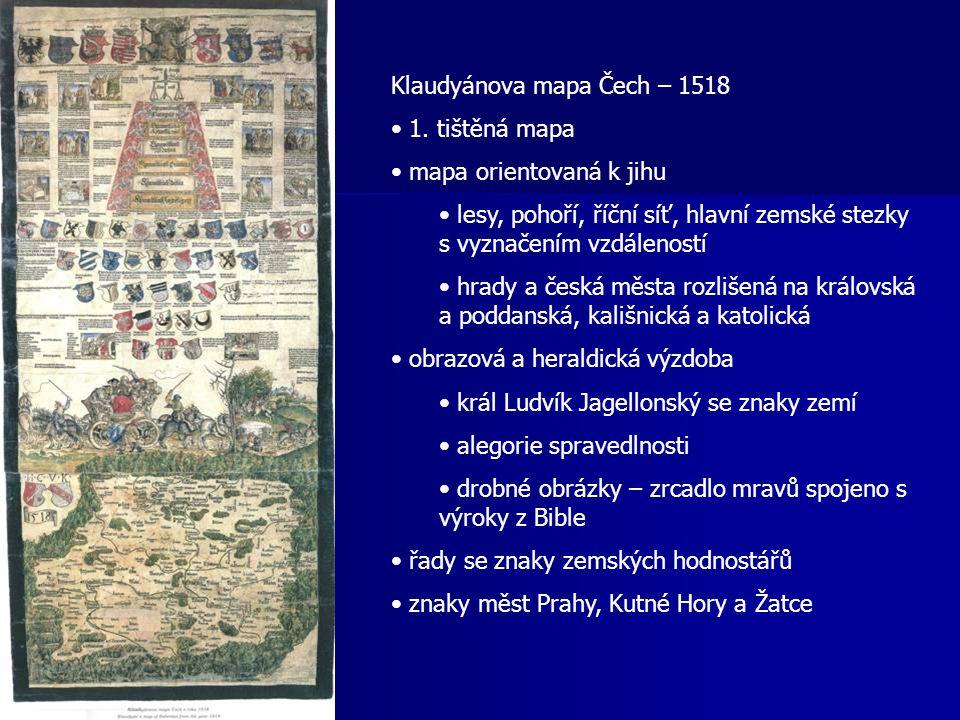 Klaudyánova mapa Čech – 1518