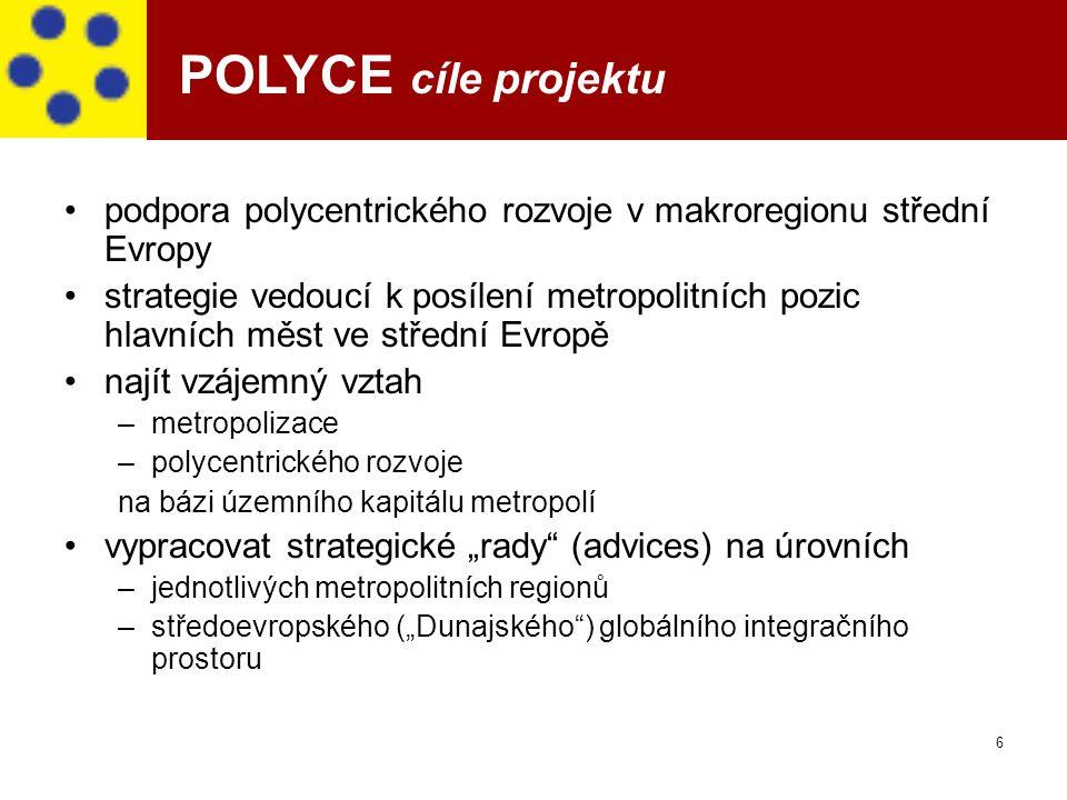 POLYCE cíle projektu podpora polycentrického rozvoje v makroregionu střední Evropy.