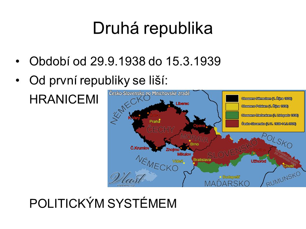 Druhá republika Období od 29.9.1938 do 15.3.1939