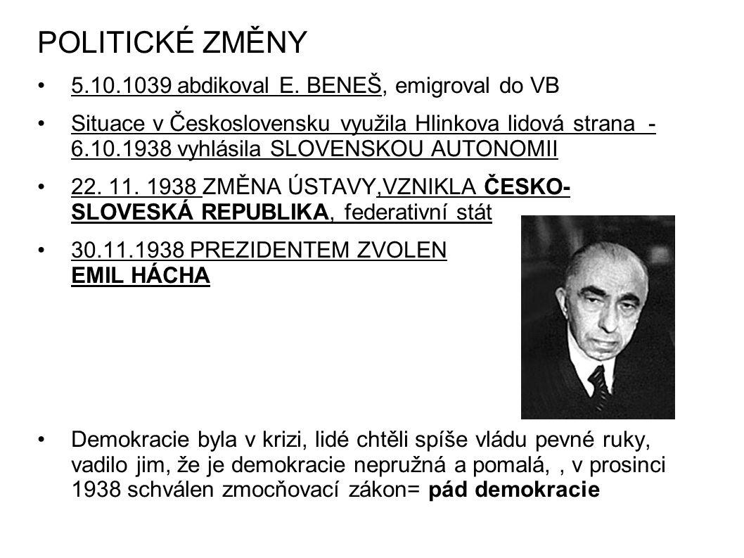 POLITICKÉ ZMĚNY 5.10.1039 abdikoval E. BENEŠ, emigroval do VB