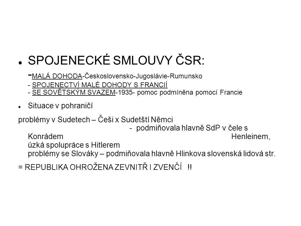 SPOJENECKÉ SMLOUVY ČSR: -MALÁ DOHODA-Československo-Jugoslávie-Rumunsko - SPOJENECTVÍ MALÉ DOHODY S FRANCIÍ - SE SOVĚTSKÝM SVAZEM-1935- pomoc podmíněna pomocí Francie