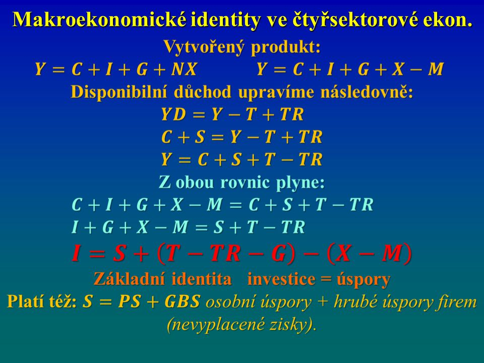 Makroekonomické identity ve čtyřsektorové ekon.