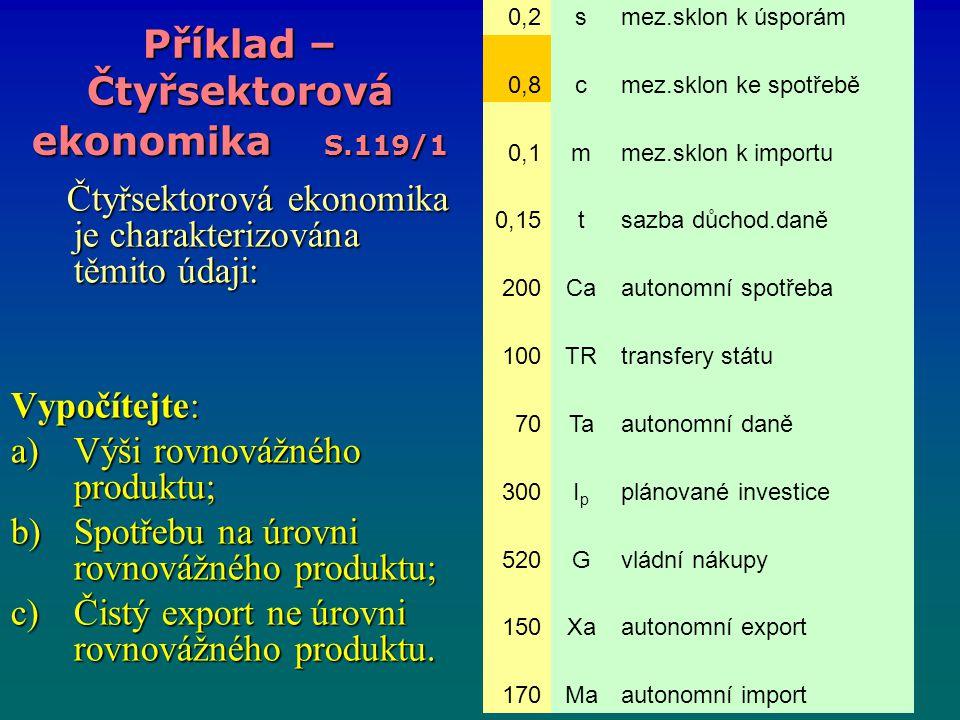 Příklad – Čtyřsektorová ekonomika S.119/1