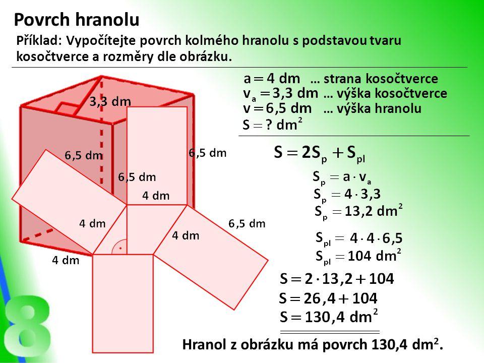 Povrch hranolu Hranol z obrázku má povrch 130,4 dm2.