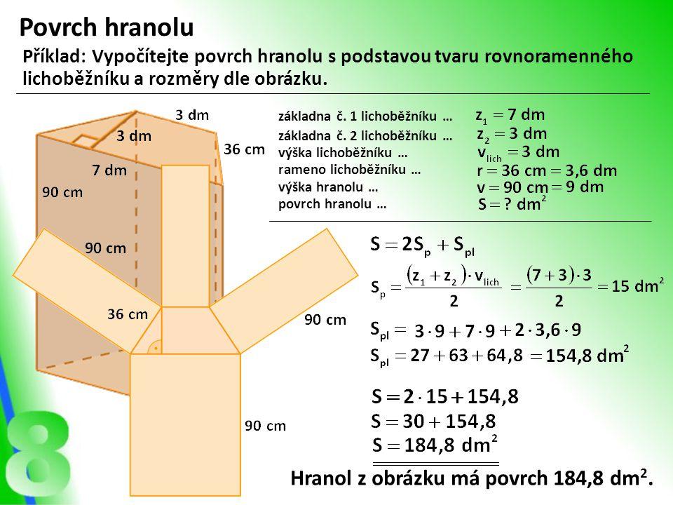 Povrch hranolu Hranol z obrázku má povrch 184,8 dm2.