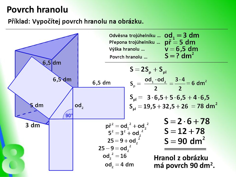 Povrch hranolu Hranol z obrázku má povrch 90 dm2.