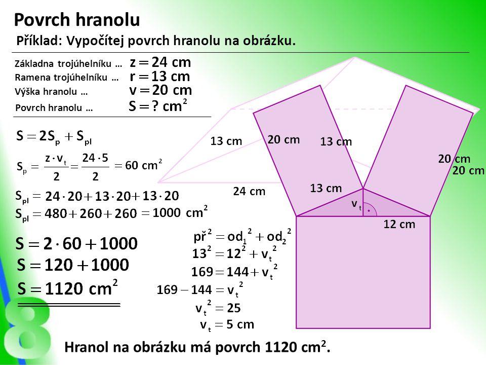 Povrch hranolu Hranol na obrázku má povrch 1120 cm2.