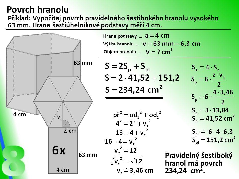 Povrch hranolu Pravidelný šestiboký hranol má povrch 234,24 cm2.