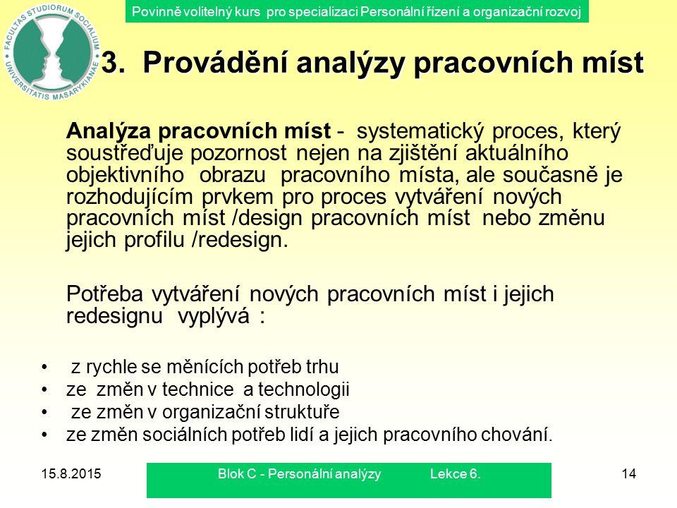 3. Provádění analýzy pracovních míst