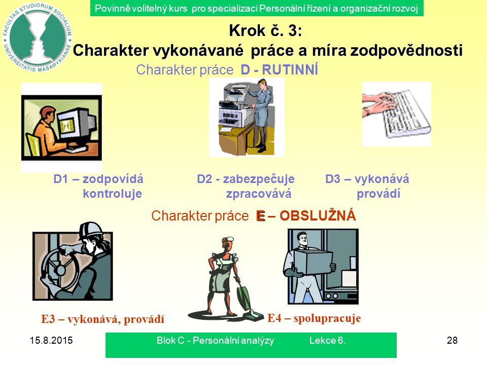 Krok č. 3: Charakter vykonávané práce a míra zodpovědnosti