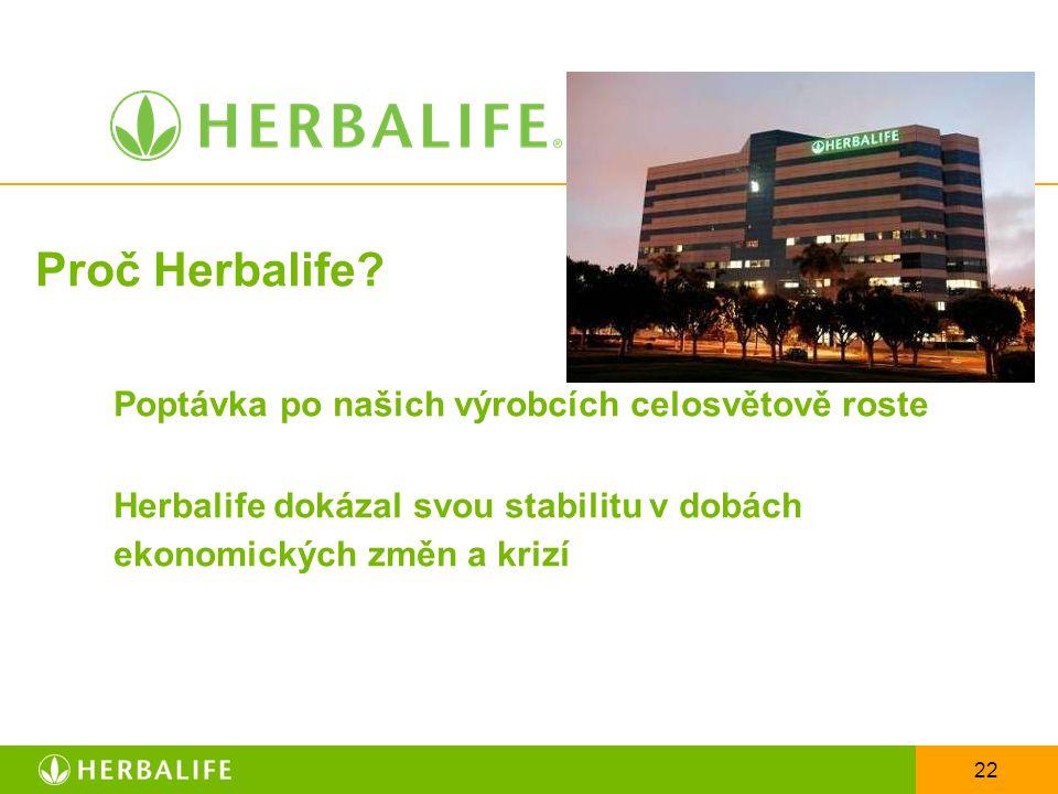 Proč Herbalife Poptávka po našich výrobcích celosvětově roste Herbalife dokázal svou stabilitu v dobách ekonomických změn a krizí
