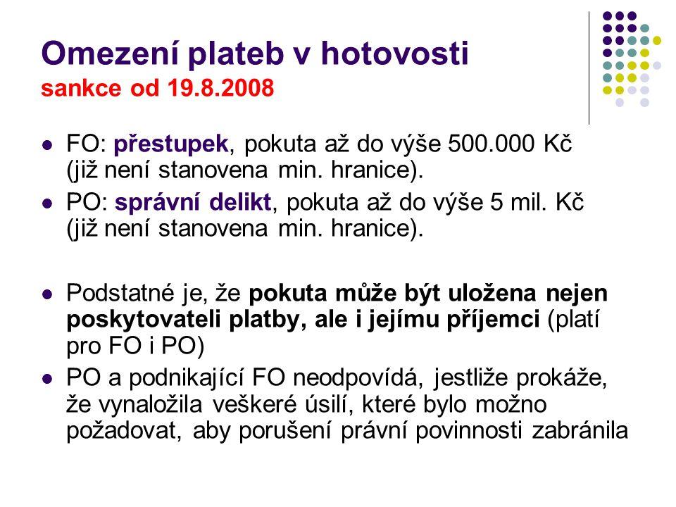 Omezení plateb v hotovosti sankce od 19.8.2008