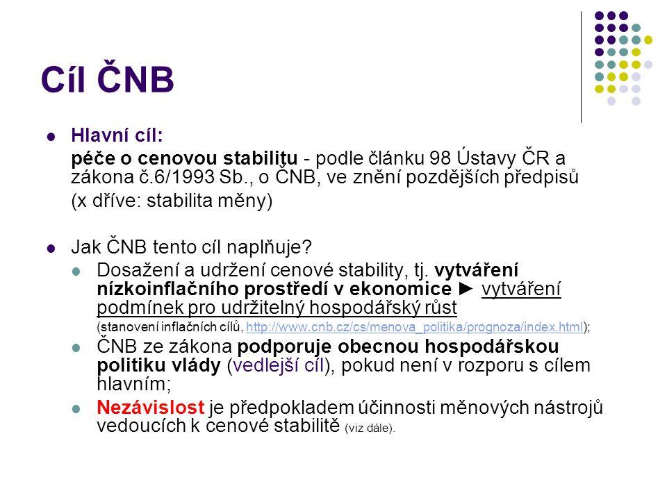 Cíl ČNB Hlavní cíl: péče o cenovou stabilitu - podle článku 98 Ústavy ČR a zákona č.6/1993 Sb., o ČNB, ve znění pozdějších předpisů.