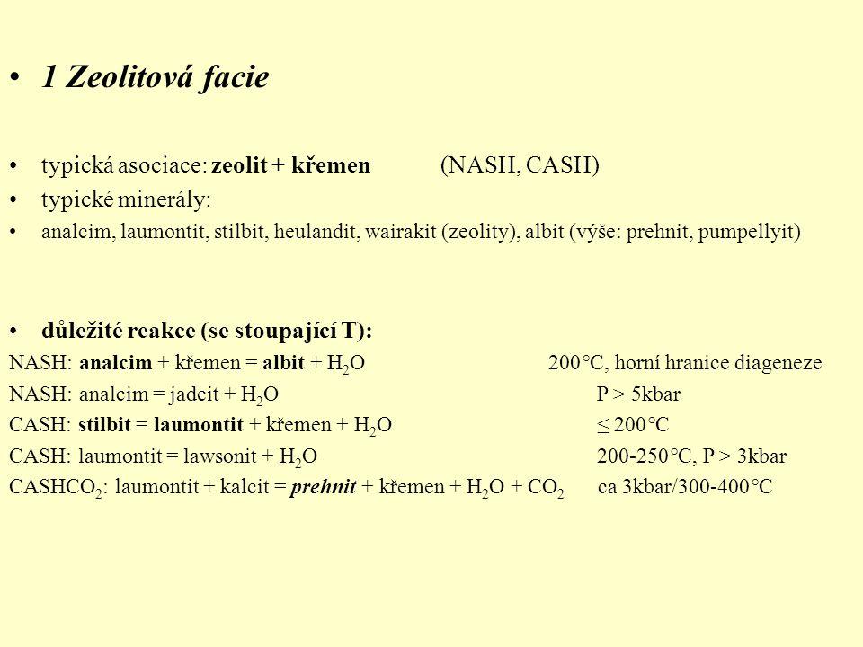 1 Zeolitová facie typická asociace: zeolit + křemen (NASH, CASH)