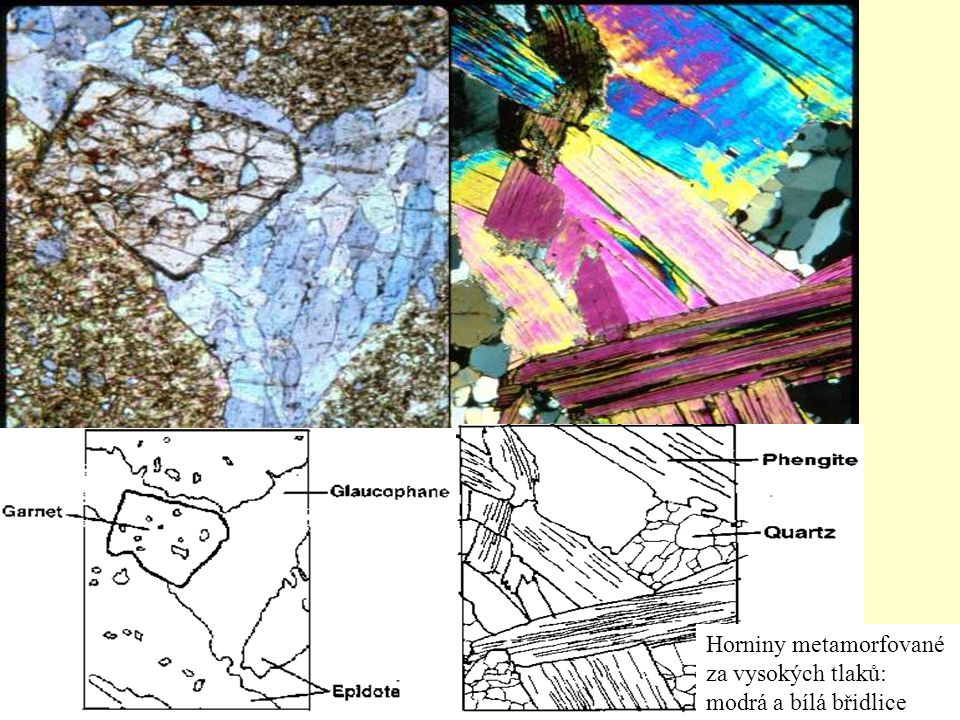 Horniny metamorfované za vysokých tlaků: modrá a bílá břidlice