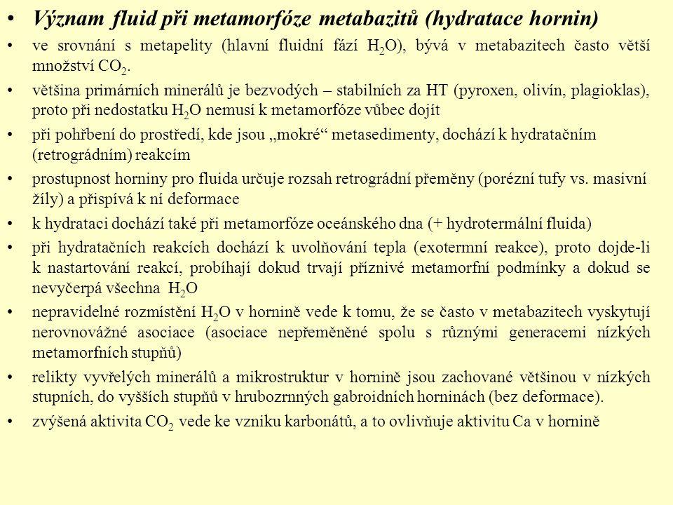 Význam fluid při metamorfóze metabazitů (hydratace hornin)