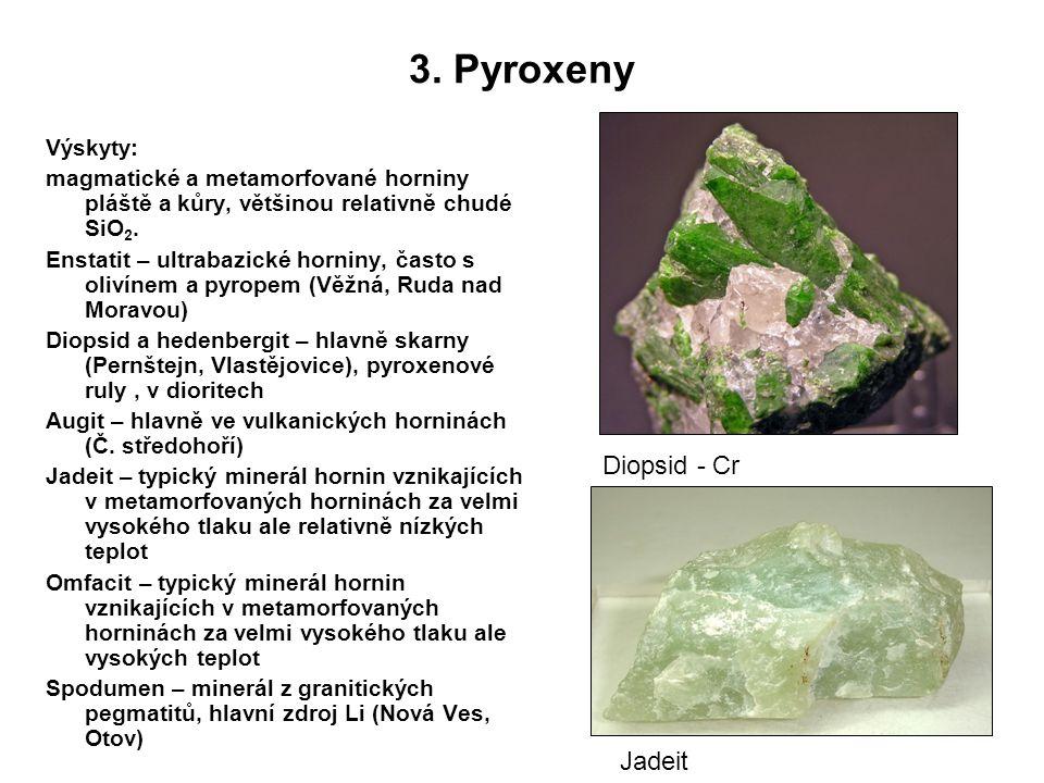 3. Pyroxeny Diopsid - Cr Jadeit Výskyty: