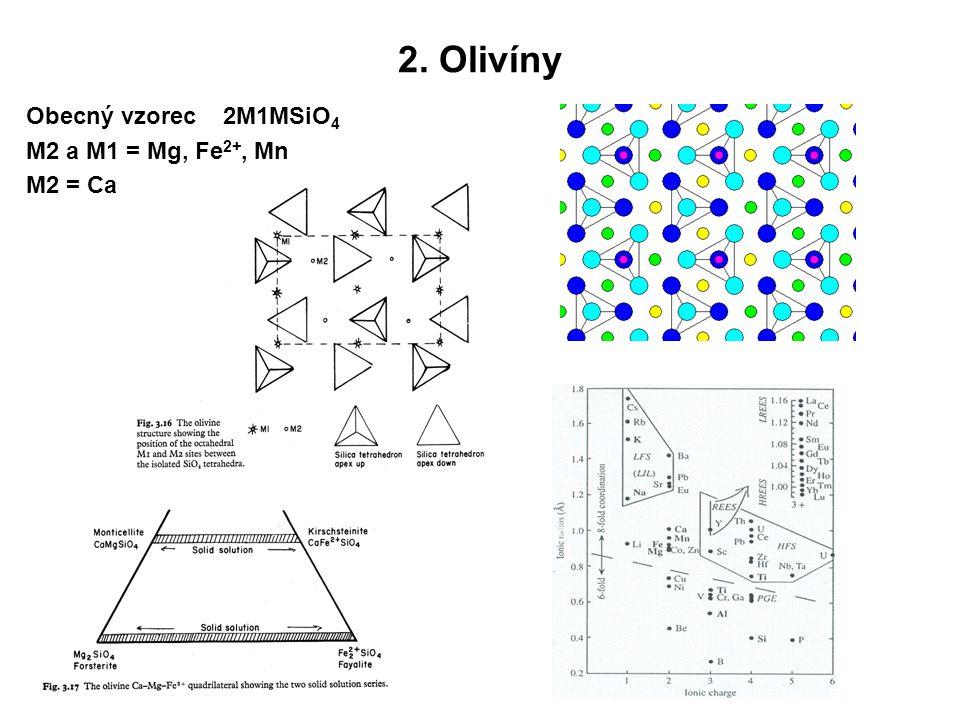 2. Olivíny Obecný vzorec 2M1MSiO4 M2 a M1 = Mg, Fe2+, Mn M2 = Ca