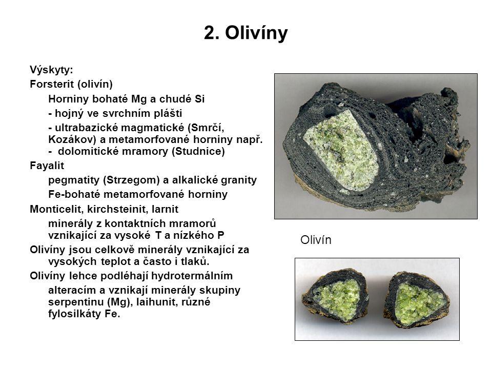 2. Olivíny Olivín Výskyty: Forsterit (olivín)