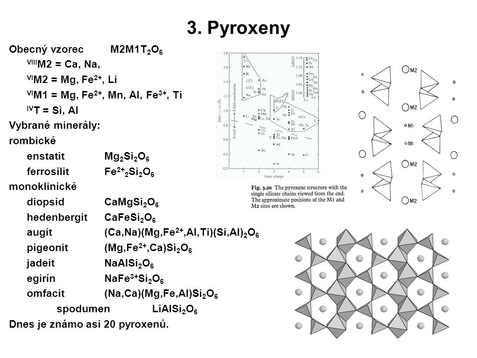 3. Pyroxeny Obecný vzorec M2M1T2O6 VIIIM2 = Ca, Na,