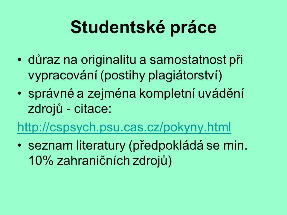 Studentské práce důraz na originalitu a samostatnost při vypracování (postihy plagiátorství) správné a zejména kompletní uvádění zdrojů - citace: