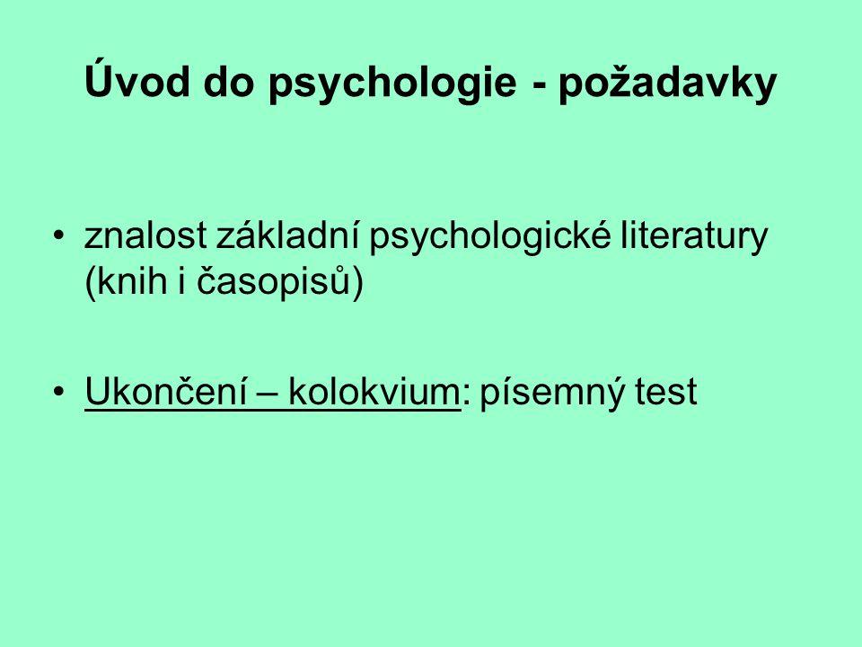 Úvod do psychologie - požadavky