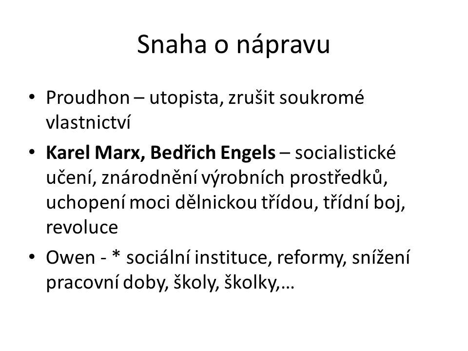 Snaha o nápravu Proudhon – utopista, zrušit soukromé vlastnictví