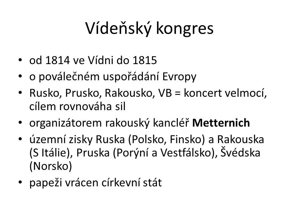 Vídeňský kongres od 1814 ve Vídni do 1815