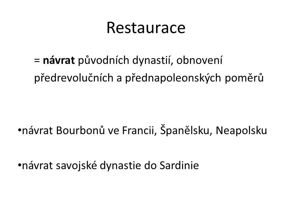 Restaurace = návrat původních dynastií, obnovení