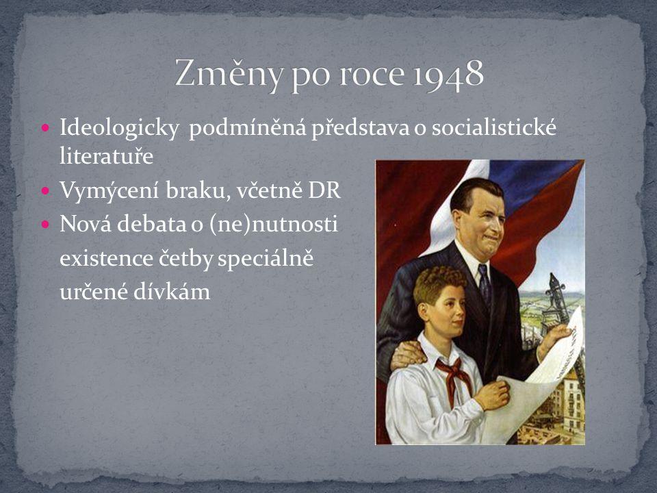 Změny po roce 1948 Ideologicky podmíněná představa o socialistické literatuře. Vymýcení braku, včetně DR.