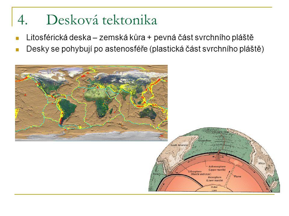 4. Desková tektonika Litosférická deska – zemská kůra + pevná část svrchního pláště.