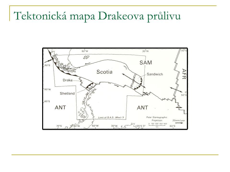 Tektonická mapa Drakeova průlivu