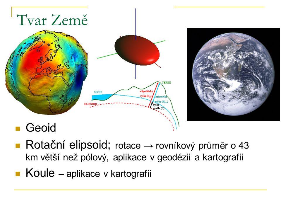 Tvar Země Geoid. Rotační elipsoid; rotace → rovníkový průměr o 43 km větší než pólový, aplikace v geodézii a kartografii.