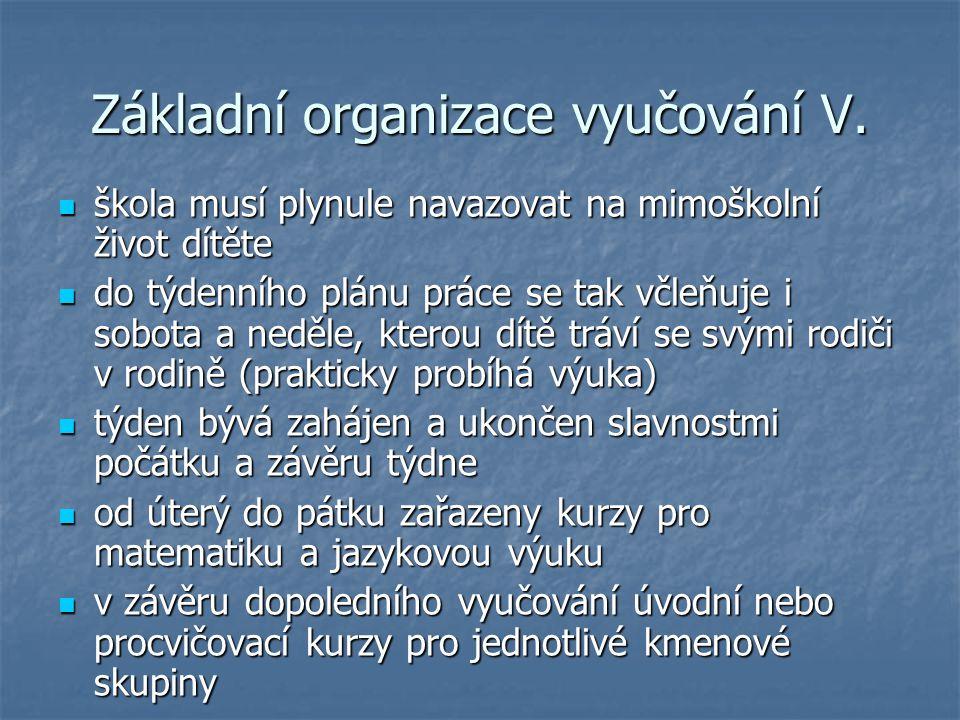 Základní organizace vyučování V.
