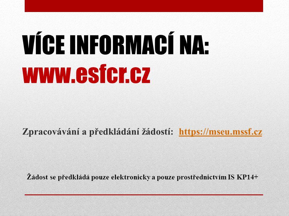 VÍCE INFORMACÍ NA: www.esfcr.cz