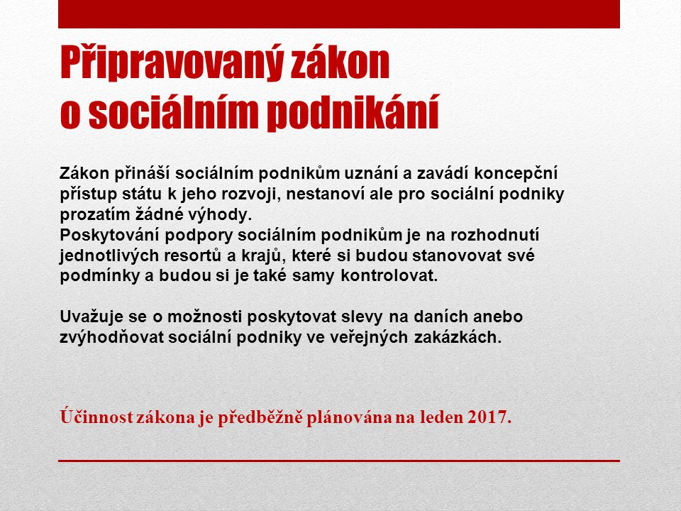Připravovaný zákon o sociálním podnikání