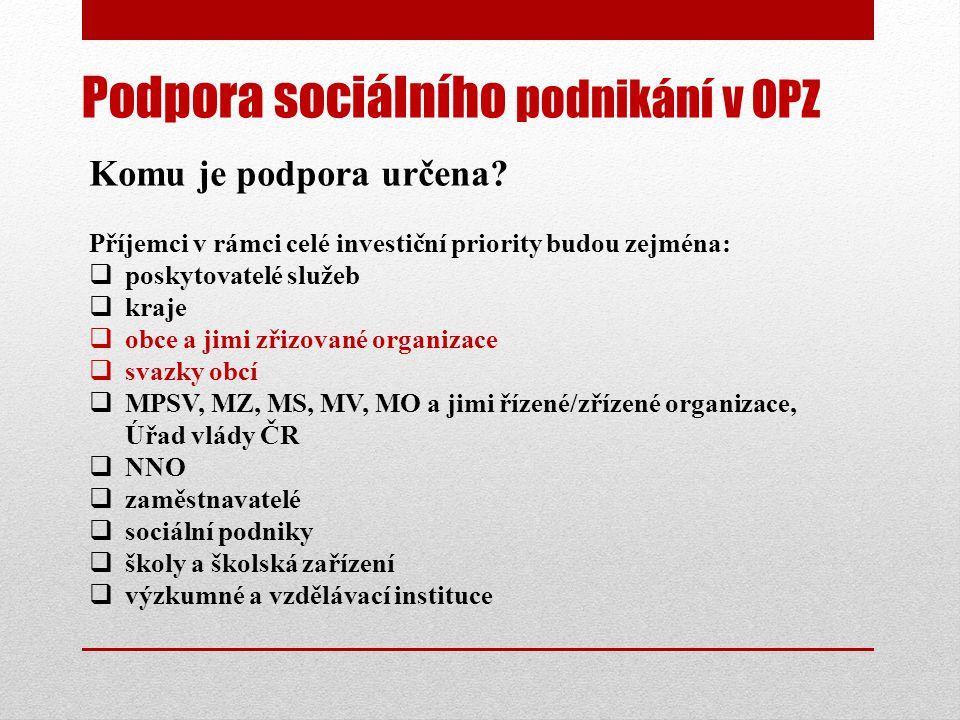 Podpora sociálního podnikání v OPZ