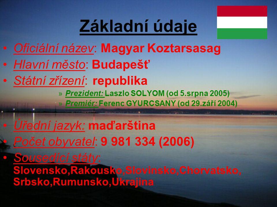 Základní údaje Oficiální název: Magyar Koztarsasag