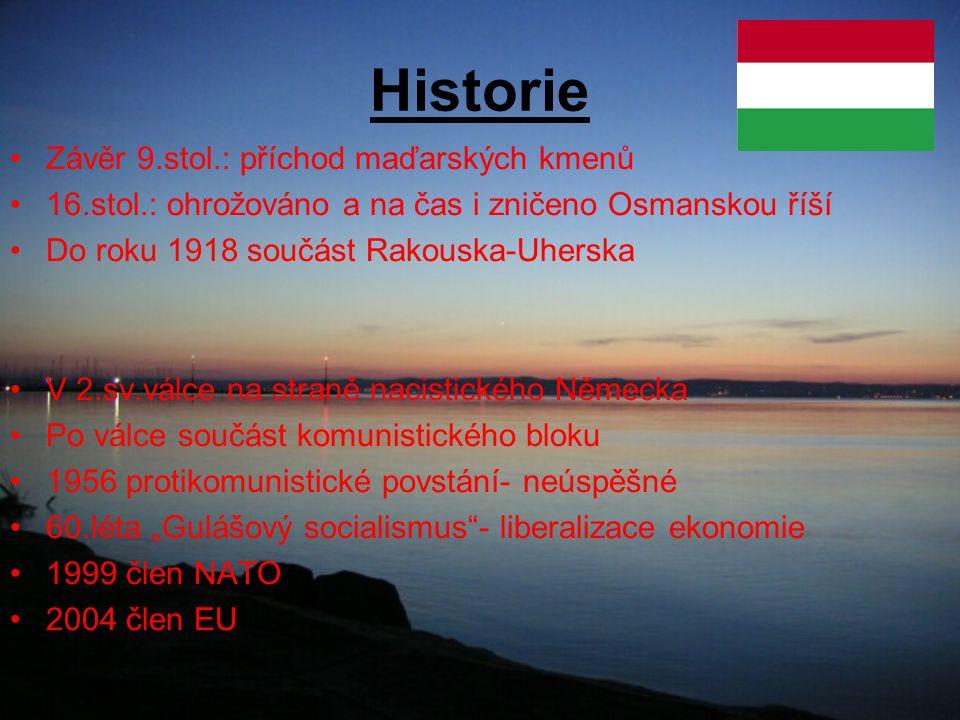 Historie Závěr 9.stol.: příchod maďarských kmenů