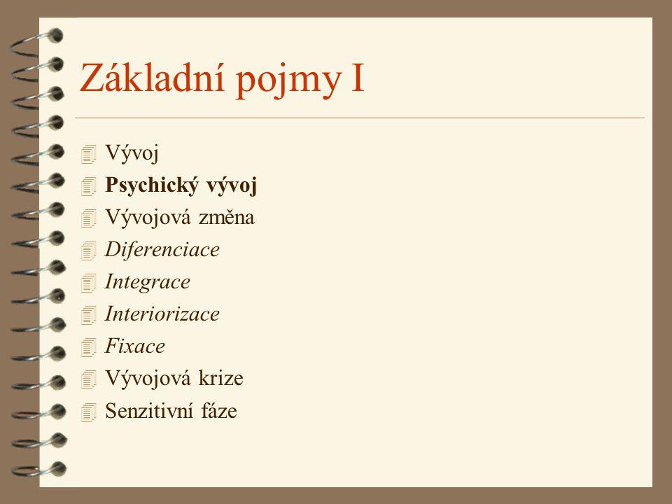 Základní pojmy I Vývoj Psychický vývoj Vývojová změna Diferenciace