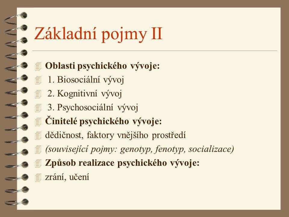 Základní pojmy II Oblasti psychického vývoje: 1. Biosociální vývoj
