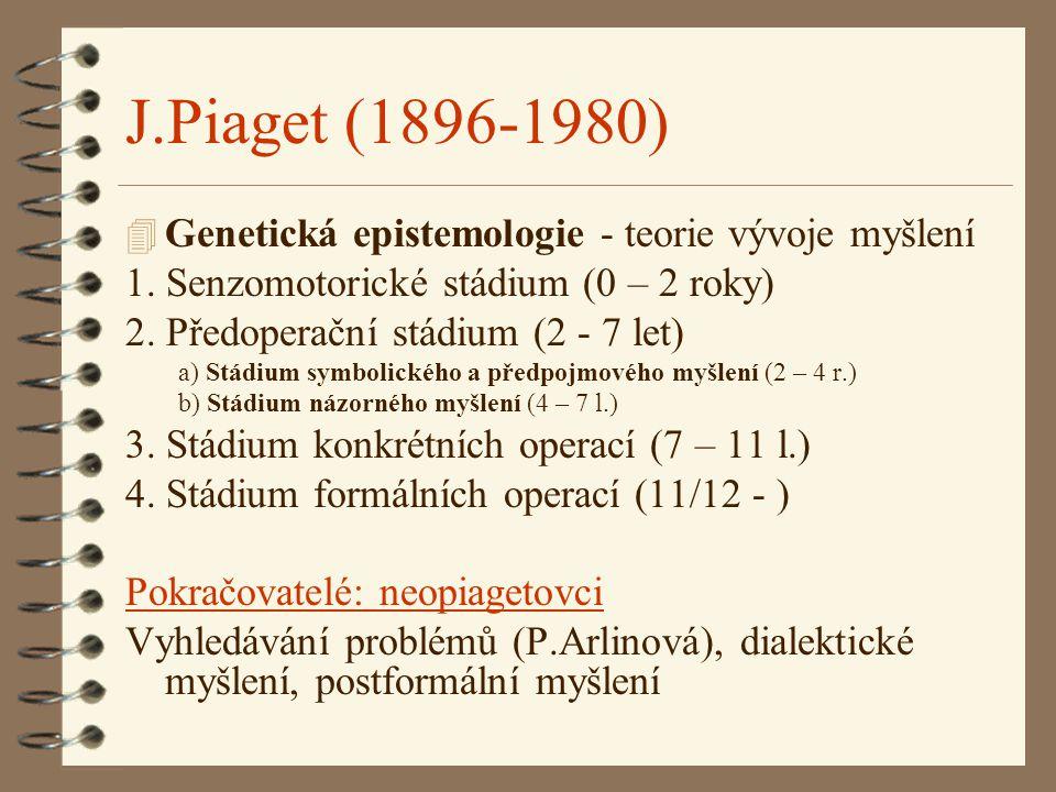 J.Piaget (1896-1980) Genetická epistemologie - teorie vývoje myšlení