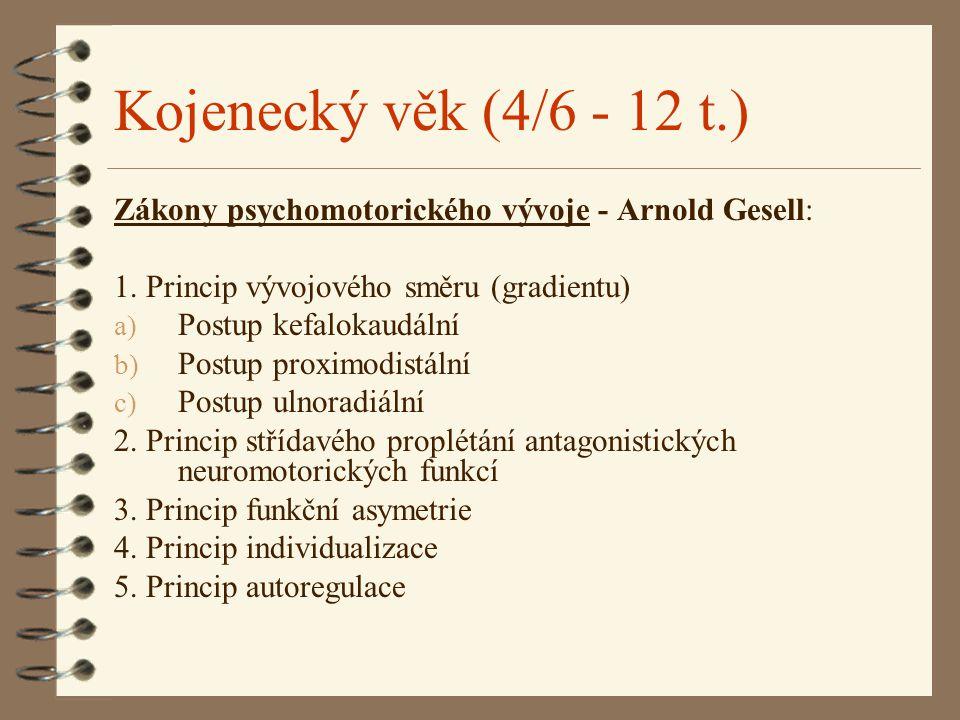 Kojenecký věk (4/6 - 12 t.) Zákony psychomotorického vývoje - Arnold Gesell: 1. Princip vývojového směru (gradientu)