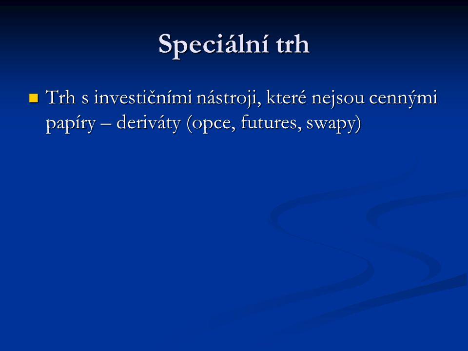 Speciální trh Trh s investičními nástroji, které nejsou cennými papíry – deriváty (opce, futures, swapy)