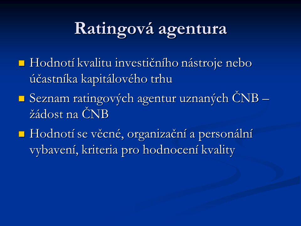 Ratingová agentura Hodnotí kvalitu investičního nástroje nebo účastníka kapitálového trhu. Seznam ratingových agentur uznaných ČNB – žádost na ČNB.